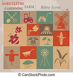 icons., vektor, illustration, jordbruk, lantbruk, retro