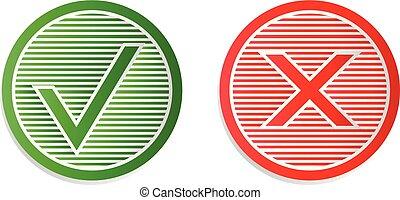 icons., vetorial, cheque, ilustração, marca