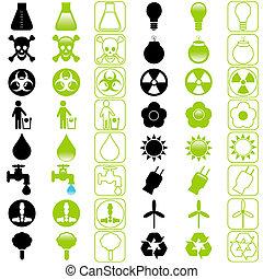 icons:, vetorial, poupar, energia