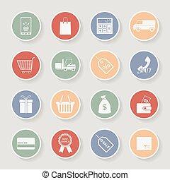 icons., vettore, shopping, rotondo, illustrazione