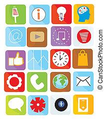 Icons web set funny design bright illustration