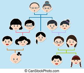 icons:, wektor, drzewo, rodzina
