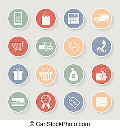 icons., wektor, zakupy, okrągły, ilustracja