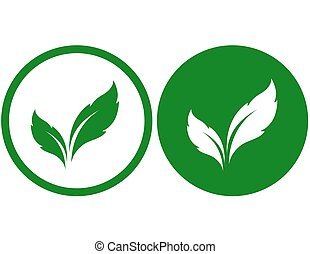 icons with green leaves