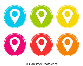 Icons with markers on maps symbol
