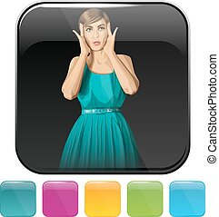Icons with shopping woman - Button icon with shopping woman