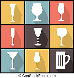 Icons with stemware in Flat Design for Web and Mobile