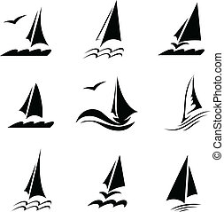 Icons with the image of yachts