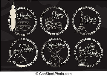 Icons with world cities, London, New York, Rome, Amsterdam, Tokyo, Paris, stylized drawing with chalk on a blackboard, a frame in round frame on a black background.