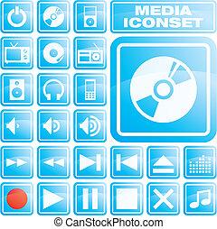 icons_01b_media - Glossy blue icon set for media...
