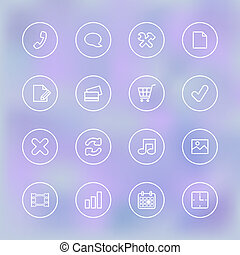 Iconset for mobile app UI, transparent clear