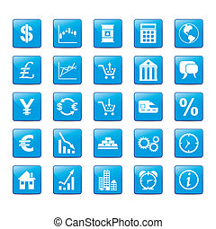 Iconset Markets - Icon set in blue style for markets.