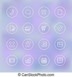 iconset, pour, mobile, app, ui, transparent, clair