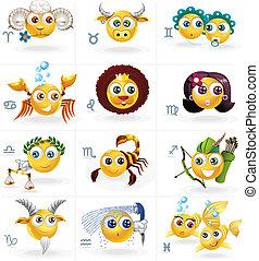 icons/smiley, -, zodíaco, figuras, señales