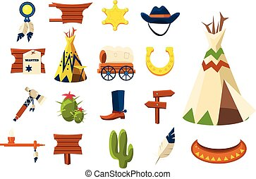 icons.vector, cow-boy, ouest, illustration, objets, sauvage