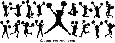 icons.vector, ensemble, (jumping, illustration., danseurs, isolé, cheerleading, silhouettes, standing), pompoms