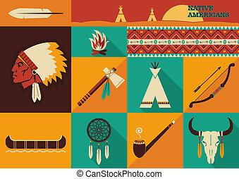 icons.vector, nativo, diseño, americanos, plano