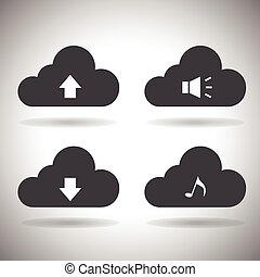 icons.vector., nuage, calculer