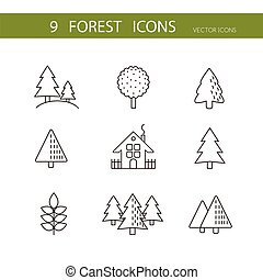 icons.vector, set, iconen, bomen, bos, vector.