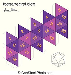Icosahedral Dice Platonic solid template - Icosaèdre ...