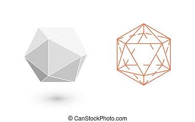 icosahedron, é, um, geomã©´ricas, figure., hipster, moda,...