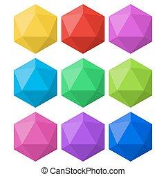icosahedron, μέσα , διαφορετικός , μπογιά , για , σχεδιάζω , και , ο ενσαρκώμενος λόγος του θεού