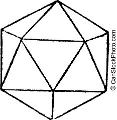 icosahedron, 型, レギュラー, 彫版