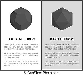 icosahedron, dodecahedron, ensemble, vecteur, illustration
