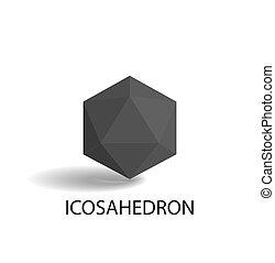 icosahedron, forma, negro, aislado, tridimensional