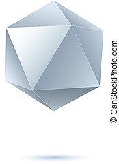 icosahedron, grayscale, 写実的な 設計