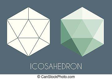 Icosaèdre solide platonique. Vecteur De Géométrie Sacrée.