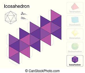 Icosaèdre modèle de papier solide platonique modèle -...