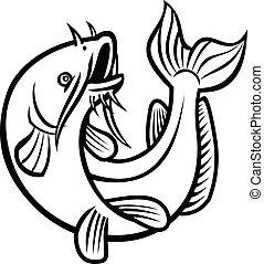 ictalurus, sauter, noir, dessin animé, blanc, furcatus, poisson-chat, bleu