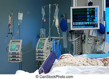 ICU Room - ICU room in a hospital with medical equipments...