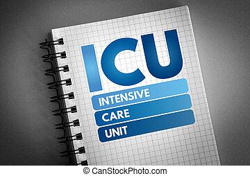 icu, terapia intensiva, -, unità, acronimo