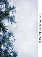 Icy background - Winter backround with spruce branches and...