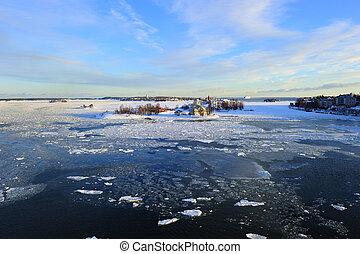 Icy Baltic sea Helsinki