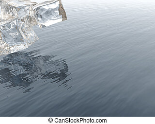 icy blocks with reflections in wavy blue water
