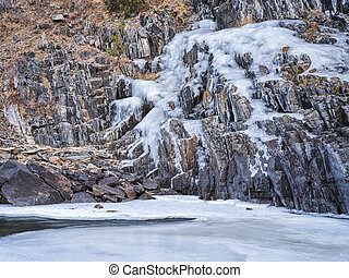 icy canyon of mountain river