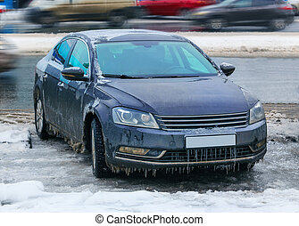 icy car in winter