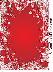 Red christmas icy frame with christmas balls. All in separate layers for better editability