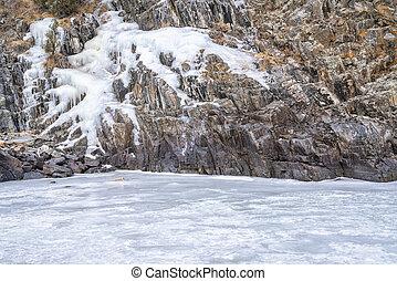 icy cliff over river - Cache la Poudre River in winter scenery