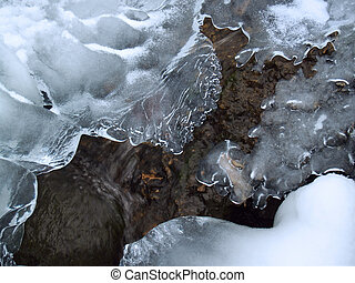 Icy Creek Forms - Lacey Ice, Gurgling Water and Boulder in...
