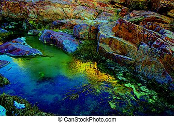 Icy Creek - Impressionistic rendition of icy Grape Creek and...