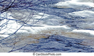 Icy Forest River in a Cold Day