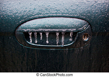Icy Handle - Frozen car door handle.