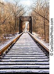 Icy Railroad Track and Trestle - Railroad tracks lead to a ...