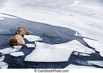 Icy shore in winter
