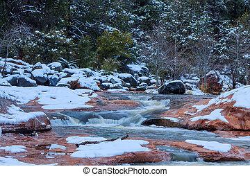 Icy stream in Sedona, Arizona
