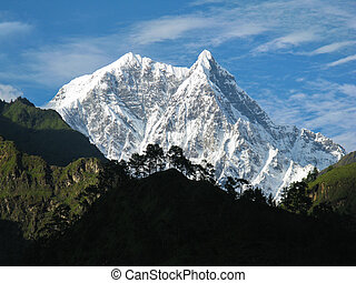 Icy summit - A snowy peak in the annapurna trek in nepal